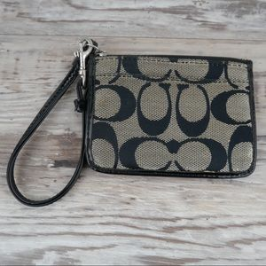Coach black/gray signature wristlet